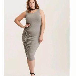Torrid gray side cinch jersey dress size 1